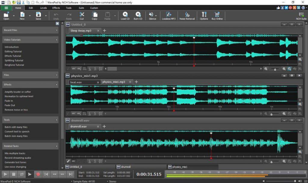 Otro programa gratuito de NCH Software (para Windows y macOS) que le permite editar audio y agregar efectos.-Descargar